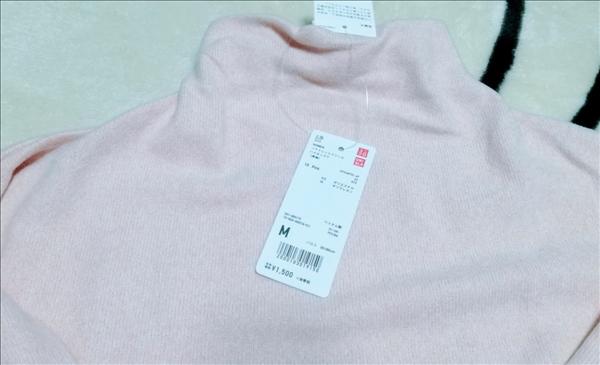 ユニクロ,ソフトニットフリースハイネックT,ピンク
